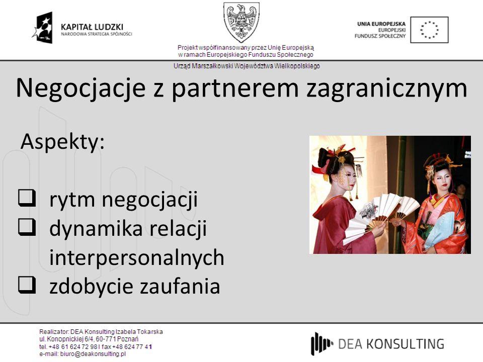 Negocjacje z partnerem zagranicznym Aspekty: rytm negocjacji dynamika relacji interpersonalnych zdobycie zaufania