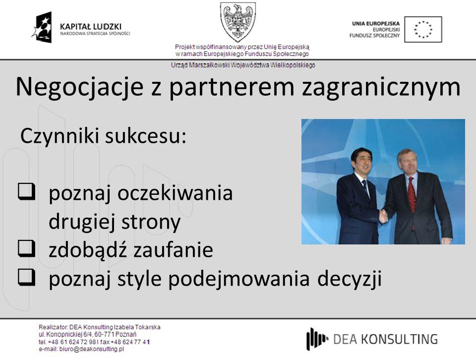 Negocjacje z partnerem zagranicznym Czynniki sukcesu: poznaj oczekiwania drugiej strony zdobądź zaufanie poznaj style podejmowania decyzji