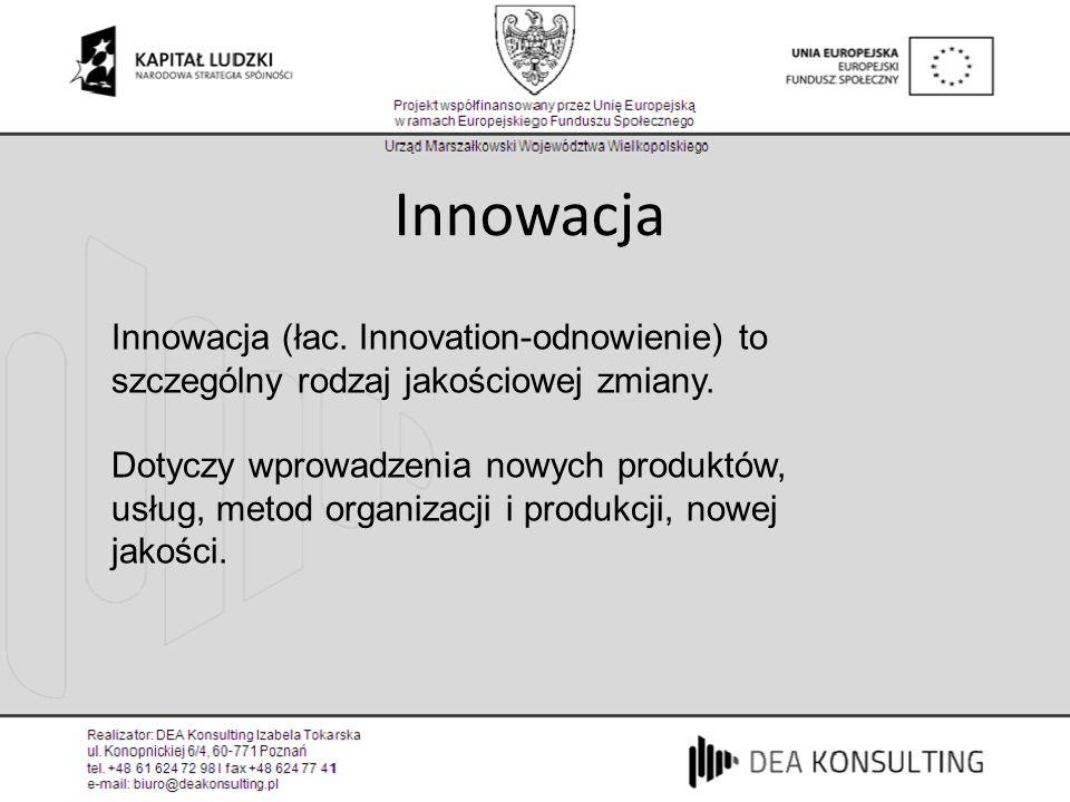 Innowacja Innowacja (łac. Innovation-odnowienie) to szczególny rodzaj jakościowej zmiany. Dotyczy wprowadzenia nowych produktów, usług, metod organiza