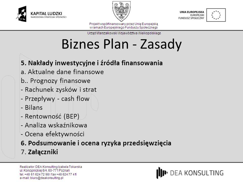5. Plan finansowy 5. Nakłady inwestycyjne i źródła finansowania a. Aktualne dane finansowe b.. Prognozy finansowe - Rachunek zysków i strat - Przepływ