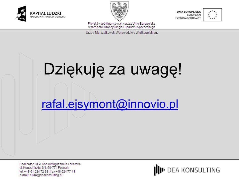 Dziękuję za uwagę! rafal.ejsymont@innovio.pl