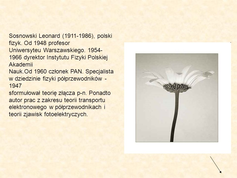Sosnowski Leonard (1911-1986), polski fizyk. Od 1948 profesor Uniwersyteu Warszawskiego. 1954- 1966 dyrektor Instytutu Fizyki Polskiej Akademii Nauk.O
