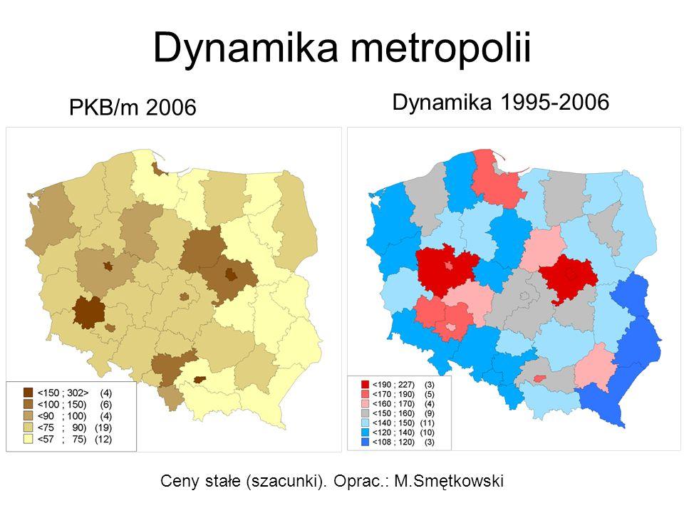 Dynamika metropolii PKB/m 2006 Dynamika 1995-2006 Ceny stałe (szacunki). Oprac.: M.Smętkowski