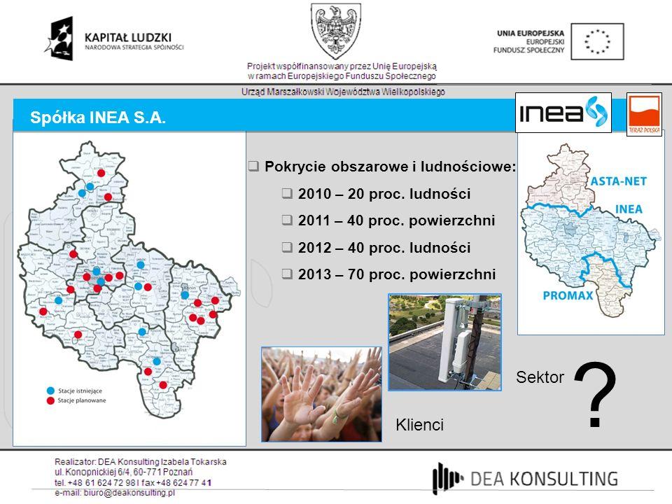 Spółka INEA S.A. Sektor Klienci ? Pokrycie obszarowe i ludnościowe: 2010 – 20 proc. ludności 2011 – 40 proc. powierzchni 2012 – 40 proc. ludności 2013