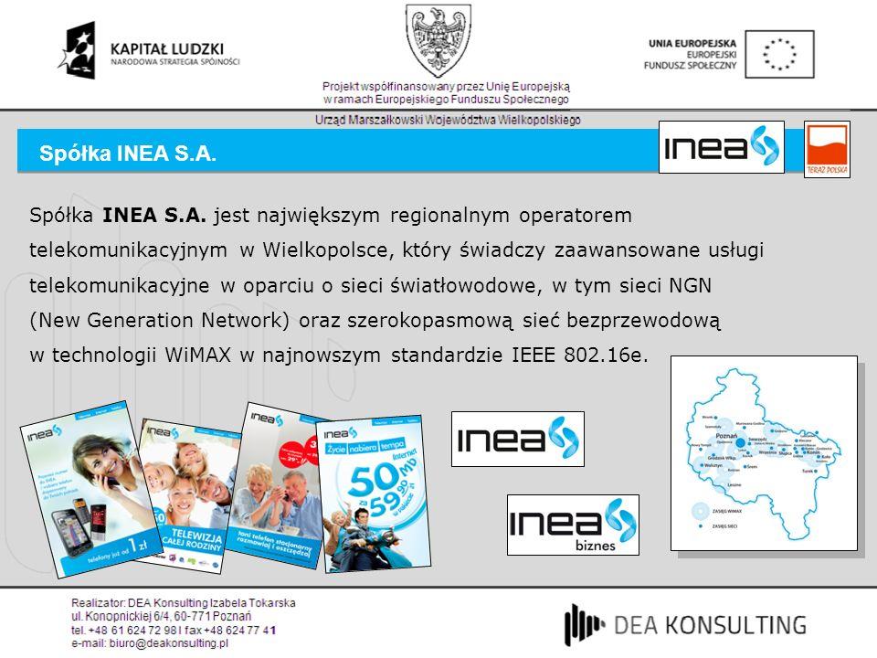 Spółka INEA S.A. jest największym regionalnym operatorem telekomunikacyjnym w Wielkopolsce, który świadczy zaawansowane usługi telekomunikacyjne w opa