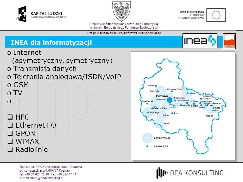 INEA dla informatyzacji o Internet (asymetryczny, symetryczny) o Transmisja danych o Telefonia analogowa/ISDN/VoIP o GSM o TV o … HFC Ethernet FO GPON