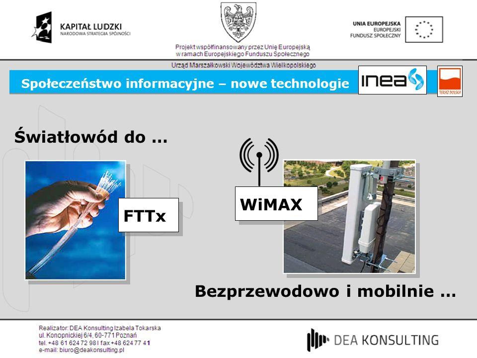 Społeczeństwo informacyjne – nowe technologie FTTx Światłowód do … WiMAX Bezprzewodowo i mobilnie …