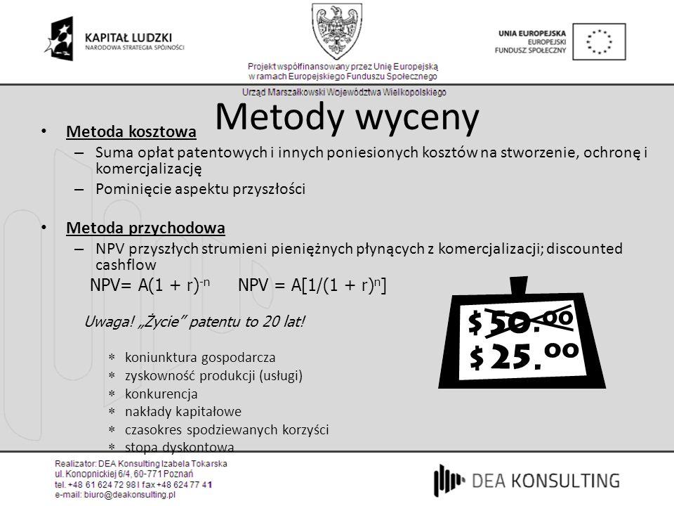 Metody wyceny Metoda kosztowa – Suma opłat patentowych i innych poniesionych kosztów na stworzenie, ochronę i komercjalizację – Pominięcie aspektu prz