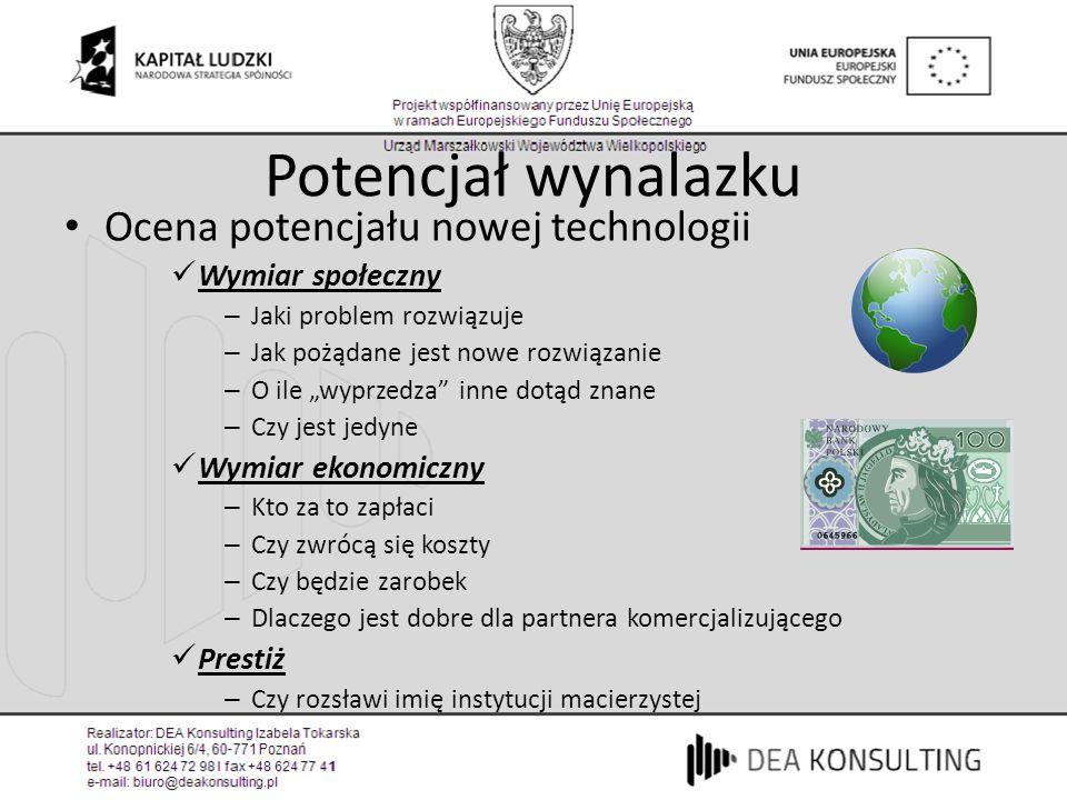Potencjał wynalazku Ocena potencjału nowej technologii Wymiar społeczny – Jaki problem rozwiązuje – Jak pożądane jest nowe rozwiązanie – O ile wyprzed
