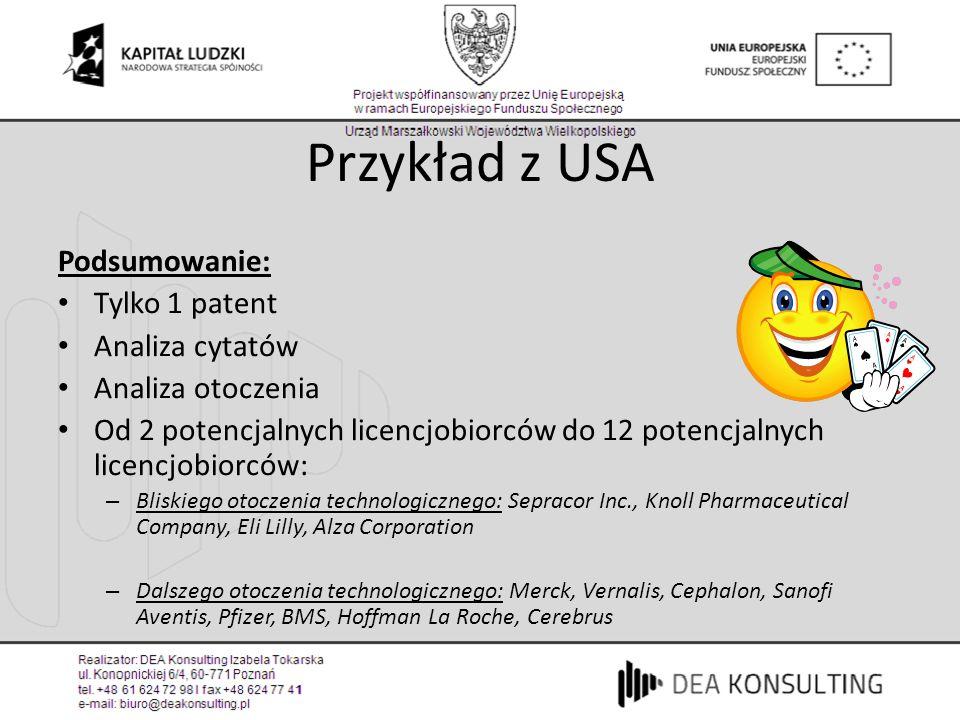 Przykład z USA Podsumowanie: Tylko 1 patent Analiza cytatów Analiza otoczenia Od 2 potencjalnych licencjobiorców do 12 potencjalnych licencjobiorców: