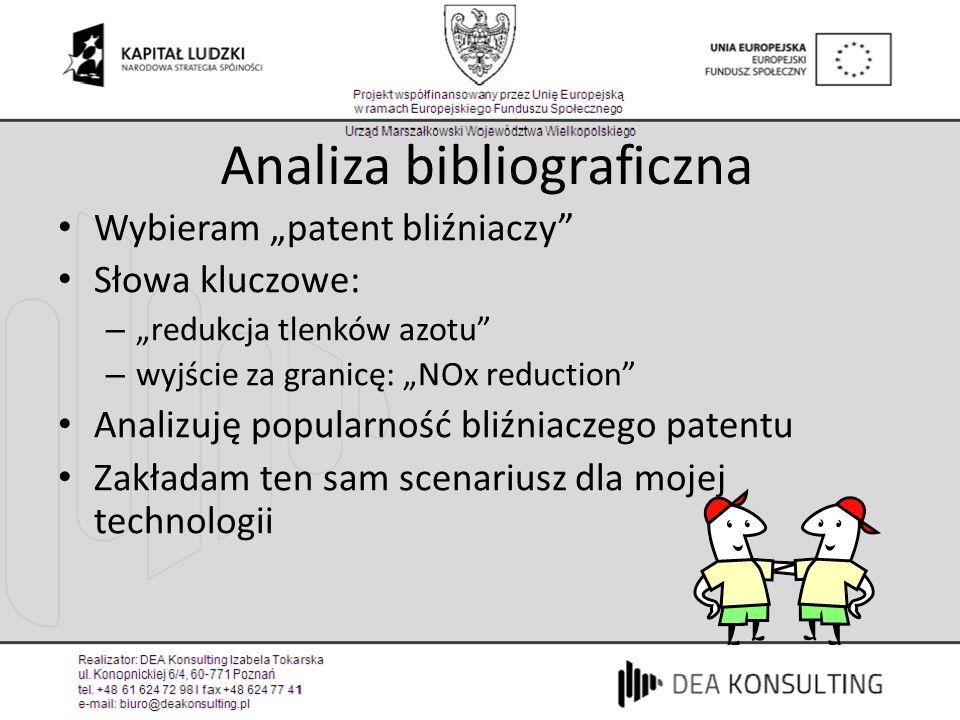 Analiza bibliograficzna Wybieram patent bliźniaczy Słowa kluczowe: – redukcja tlenków azotu – wyjście za granicę: NOx reduction Analizuję popularność