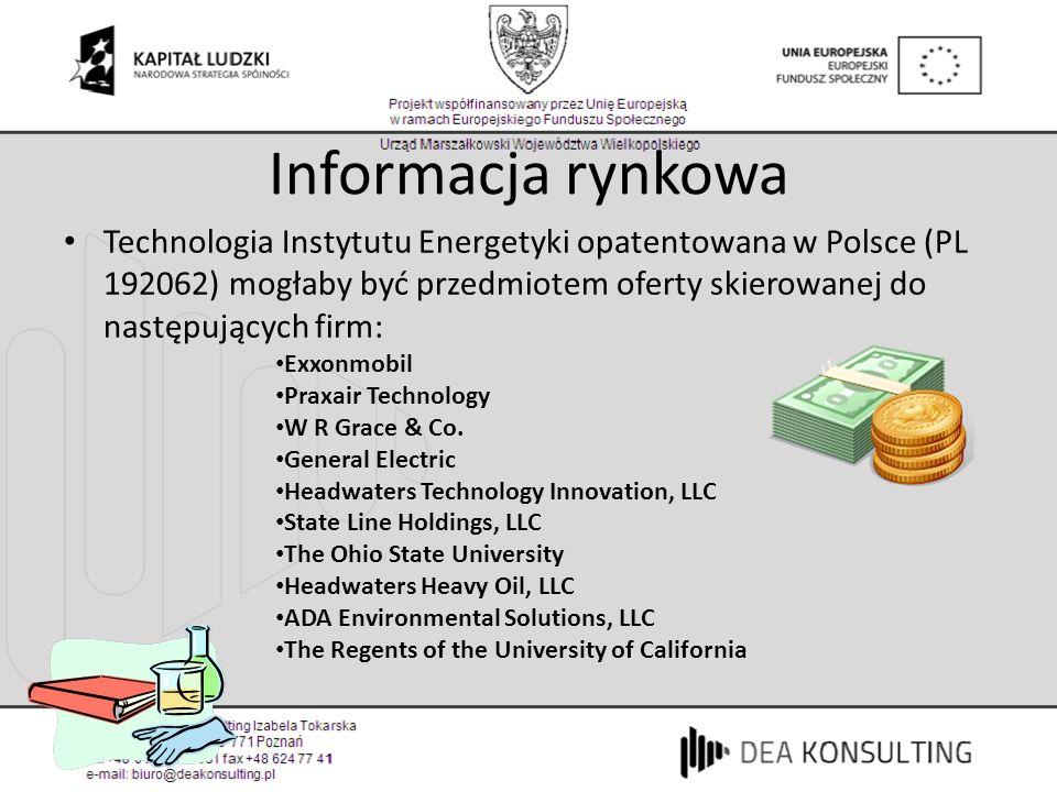 Informacja rynkowa Technologia Instytutu Energetyki opatentowana w Polsce (PL 192062) mogłaby być przedmiotem oferty skierowanej do następujących firm