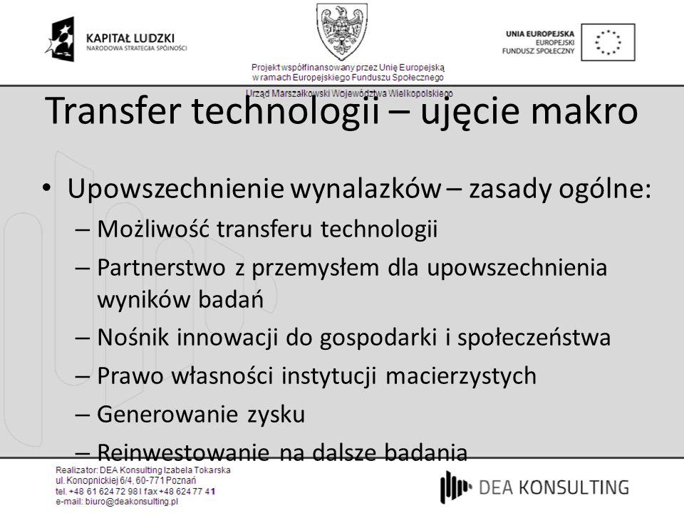Transfer technologii – ujęcie makro Upowszechnienie wynalazków – zasady ogólne: – Możliwość transferu technologii – Partnerstwo z przemysłem dla upows