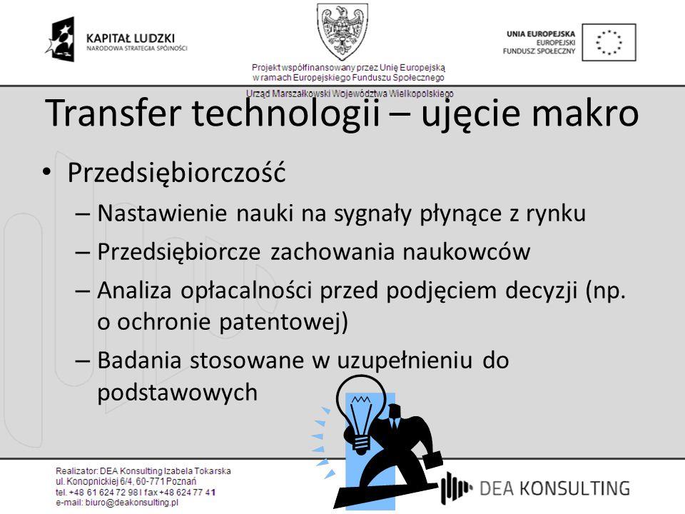 Transfer technologii – ujęcie makro Przedsiębiorczość – Nastawienie nauki na sygnały płynące z rynku – Przedsiębiorcze zachowania naukowców – Analiza