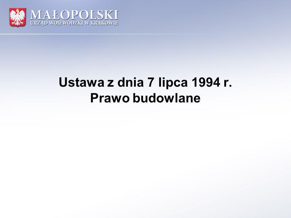 Ustawa z dnia 7 lipca 1994 r. Prawo budowlane