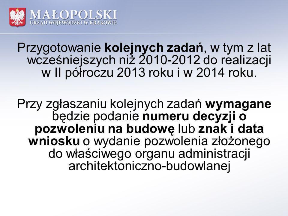 Przygotowanie kolejnych zadań, w tym z lat wcześniejszych niż 2010-2012 do realizacji w II półroczu 2013 roku i w 2014 roku. Przy zgłaszaniu kolejnych