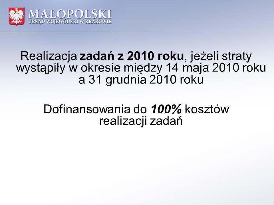 Realizacja zadań z 2010 roku, jeżeli straty wystąpiły w okresie między 14 maja 2010 roku a 31 grudnia 2010 roku Dofinansowania do 100% kosztów realiza