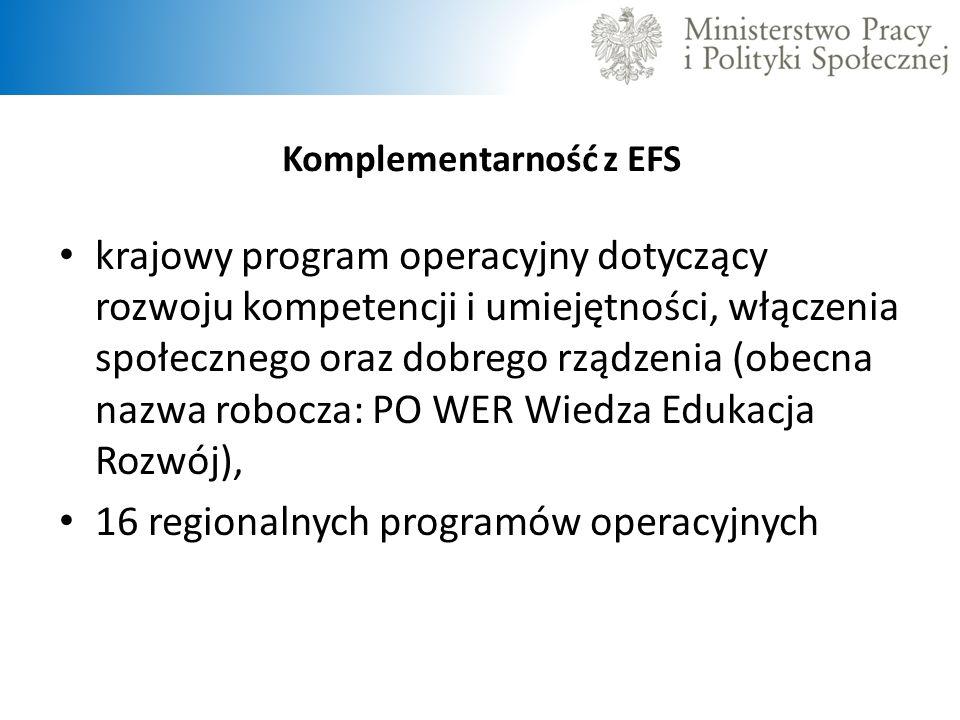 Komplementarność z EFS krajowy program operacyjny dotyczący rozwoju kompetencji i umiejętności, włączenia społecznego oraz dobrego rządzenia (obecna n