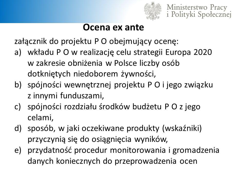 Ocena ex ante załącznik do projektu P O obejmujący ocenę: a)wkładu P O w realizację celu strategii Europa 2020 w zakresie obniżenia w Polsce liczby os