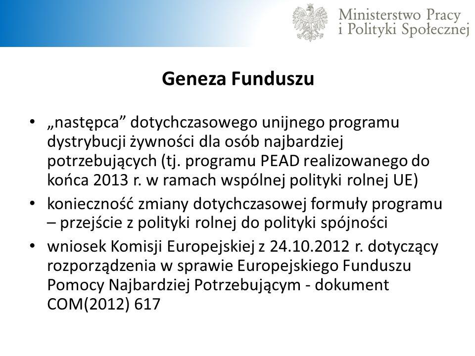 Geneza Funduszu następca dotychczasowego unijnego programu dystrybucji żywności dla osób najbardziej potrzebujących (tj. programu PEAD realizowanego d