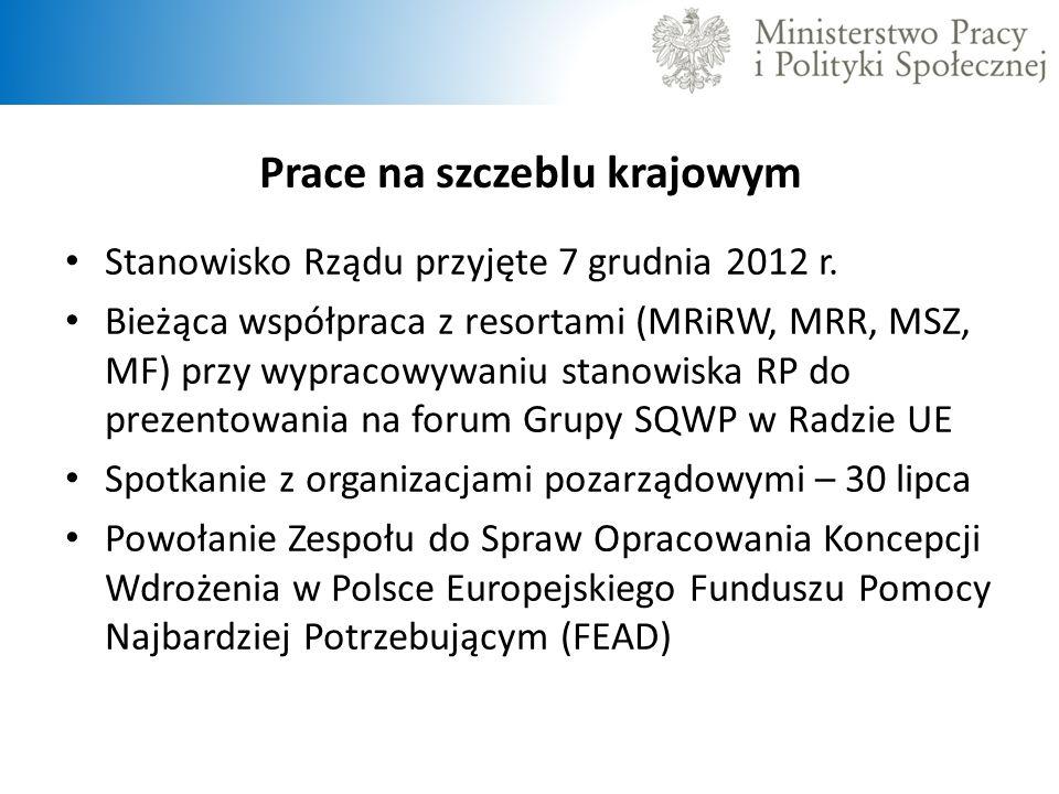 Prace na szczeblu krajowym Stanowisko Rządu przyjęte 7 grudnia 2012 r. Bieżąca współpraca z resortami (MRiRW, MRR, MSZ, MF) przy wypracowywaniu stanow