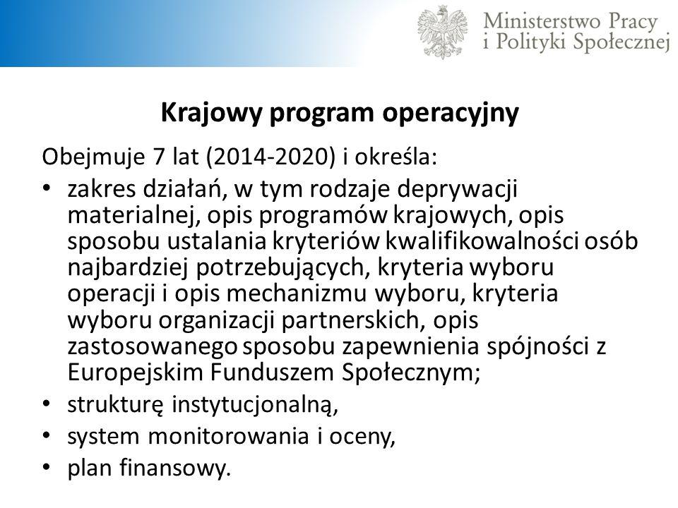 Krajowy program operacyjny Obejmuje 7 lat (2014-2020) i określa: zakres działań, w tym rodzaje deprywacji materialnej, opis programów krajowych, opis