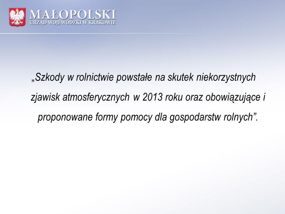 Wystąpienie niekorzystnych zjawisk w 2013 roku.Do dnia 21 czerwca 2013 r.