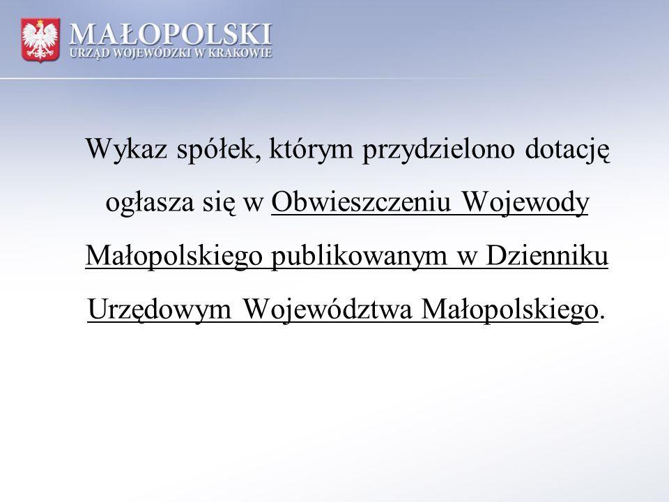 Wykaz spółek, którym przydzielono dotację ogłasza się w Obwieszczeniu Wojewody Małopolskiego publikowanym w Dzienniku Urzędowym Województwa Małopolski