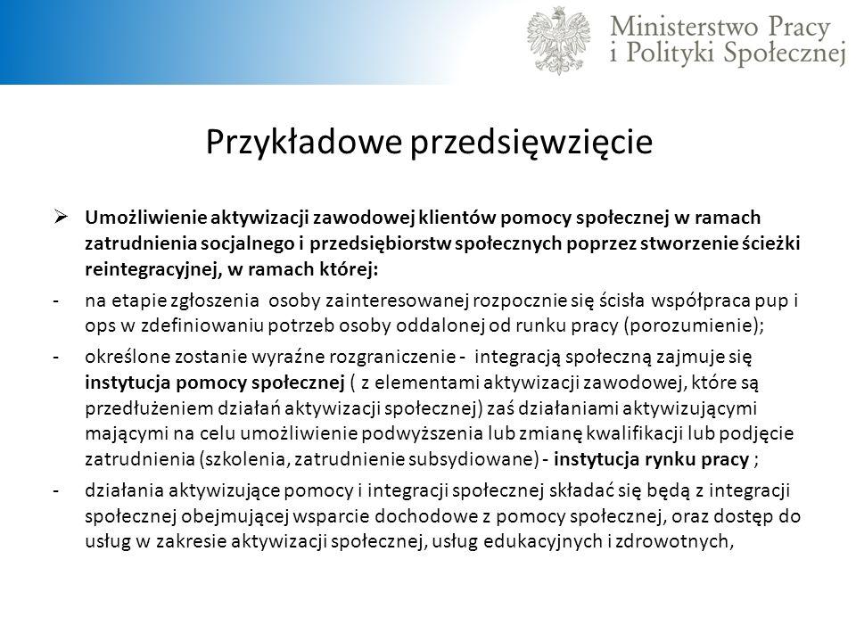 Przykładowe przedsięwzięcie Umożliwienie aktywizacji zawodowej klientów pomocy społecznej w ramach zatrudnienia socjalnego i przedsiębiorstw społecznych poprzez stworzenie ścieżki reintegracyjnej, w ramach której: -na etapie zgłoszenia osoby zainteresowanej rozpocznie się ścisła współpraca pup i ops w zdefiniowaniu potrzeb osoby oddalonej od runku pracy (porozumienie); -określone zostanie wyraźne rozgraniczenie - integracją społeczną zajmuje się instytucja pomocy społecznej ( z elementami aktywizacji zawodowej, które są przedłużeniem działań aktywizacji społecznej) zaś działaniami aktywizującymi mającymi na celu umożliwienie podwyższenia lub zmianę kwalifikacji lub podjęcie zatrudnienia (szkolenia, zatrudnienie subsydiowane) - instytucja rynku pracy ; -działania aktywizujące pomocy i integracji społecznej składać się będą z integracji społecznej obejmującej wsparcie dochodowe z pomocy społecznej, oraz dostęp do usług w zakresie aktywizacji społecznej, usług edukacyjnych i zdrowotnych,
