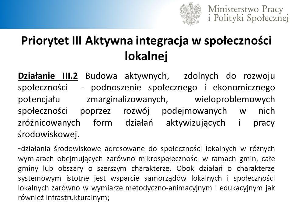 Priorytet III Aktywna integracja w społeczności lokalnej Działanie III.2 Budowa aktywnych, zdolnych do rozwoju społeczności - podnoszenie społecznego i ekonomicznego potencjału zmarginalizowanych, wieloproblemowych społeczności poprzez rozwój podejmowanych w nich zróżnicowanych form działań aktywizujących i pracy środowiskowej.