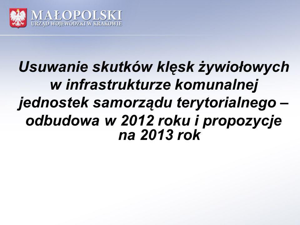 Usuwanie skutków klęsk żywiołowych w infrastrukturze komunalnej jednostek samorządu terytorialnego – odbudowa w 2012 roku i propozycje na 2013 rok