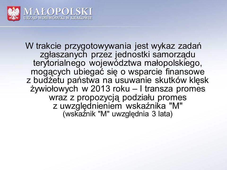 W trakcie przygotowywania jest wykaz zadań zgłaszanych przez jednostki samorządu terytorialnego województwa małopolskiego, mogących ubiegać się o wsparcie finansowe z budżetu państwa na usuwanie skutków klęsk żywiołowych w 2013 roku – I transza promes wraz z propozycją podziału promes z uwzględnieniem wskaźnika M (wskaźnik M uwzględnia 3 lata)