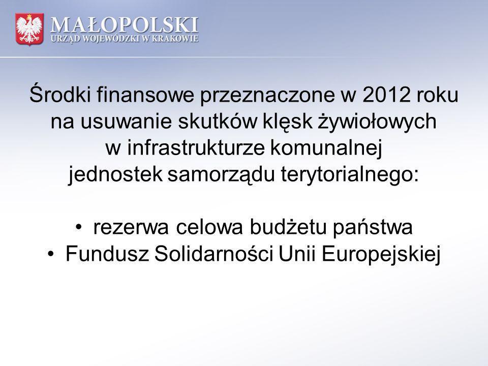 Środki finansowe przeznaczone w 2012 roku na usuwanie skutków klęsk żywiołowych w infrastrukturze komunalnej jednostek samorządu terytorialnego: rezer
