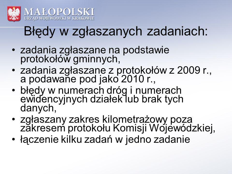 Błędy w zgłaszanych zadaniach: zadania zgłaszane na podstawie protokołów gminnych, zadania zgłaszane z protokołów z 2009 r., a podawane pod jako 2010 r., błędy w numerach dróg i numerach ewidencyjnych działek lub brak tych danych, zgłaszany zakres kilometrażowy poza zakresem protokołu Komisji Wojewódzkiej, łączenie kilku zadań w jedno zadanie