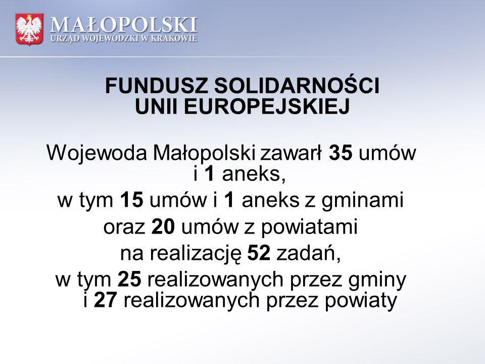 FUNDUSZ SOLIDARNOŚCI UNII EUROPEJSKIEJ Wojewoda Małopolski zawarł 35 umów i 1 aneks, w tym 15 umów i 1 aneks z gminami oraz 20 umów z powiatami na rea
