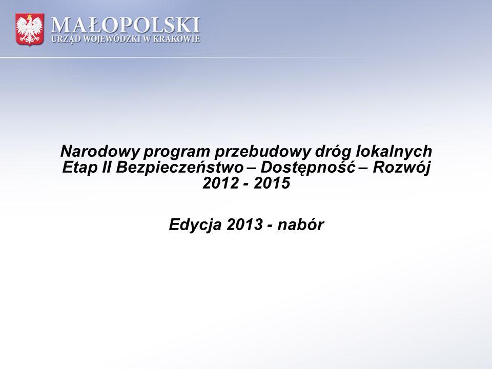 Narodowy program przebudowy dróg lokalnych Etap II Bezpieczeństwo – Dostępność – Rozwój 2012 - 2015 Edycja 2013 - nabór