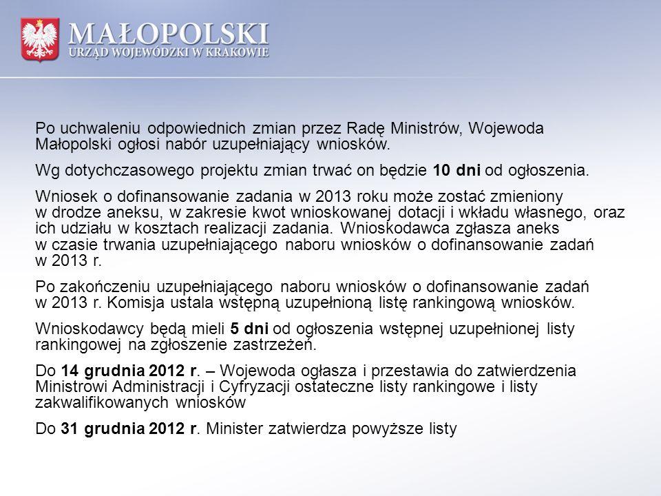 Po uchwaleniu odpowiednich zmian przez Radę Ministrów, Wojewoda Małopolski ogłosi nabór uzupełniający wniosków. Wg dotychczasowego projektu zmian trwa