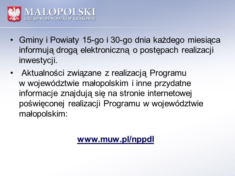 Gminy i Powiaty 15-go i 30-go dnia każdego miesiąca informują drogą elektroniczną o postępach realizacji inwestycji. Aktualności związane z realizacją