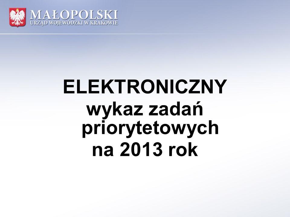 ELEKTRONICZNY wykaz zadań priorytetowych na 2013 rok