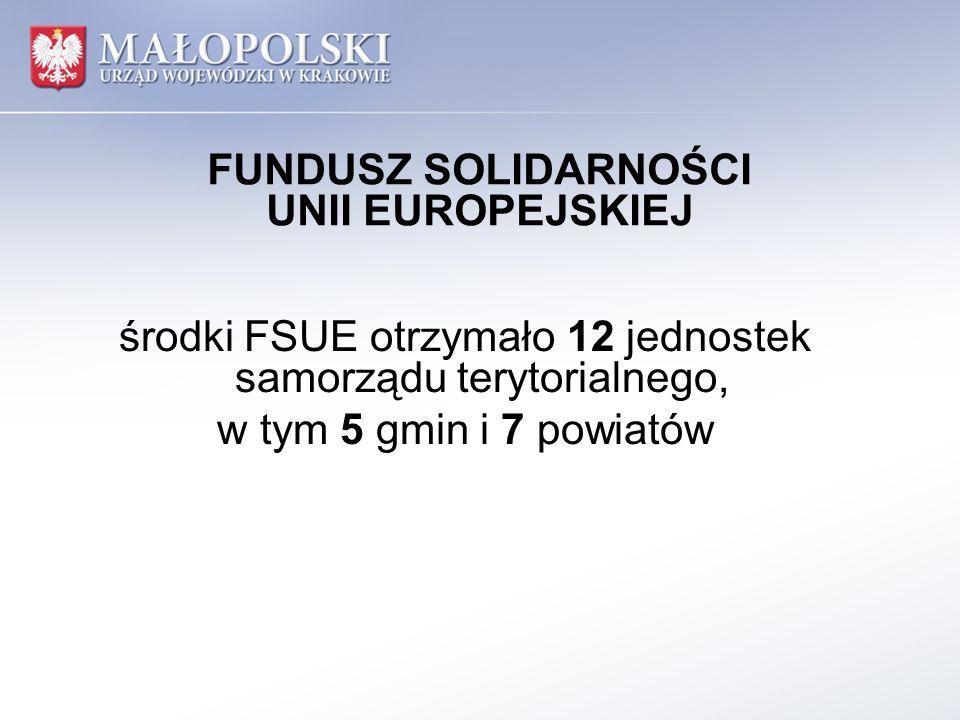 FUNDUSZ SOLIDARNOŚCI UNII EUROPEJSKIEJ Wojewoda Małopolski zawarł 35 umów i 1 aneks, w tym 15 umów i 1 aneks z gminami oraz 20 umów z powiatami na realizację 52 zadań, w tym 25 realizowanych przez gminy i 27 realizowanych przez powiaty