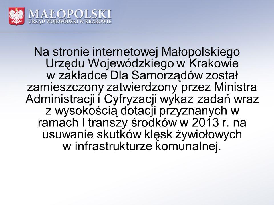 Na stronie internetowej Małopolskiego Urzędu Wojewódzkiego w Krakowie w zakładce Dla Samorządów został zamieszczony zatwierdzony przez Ministra Admini