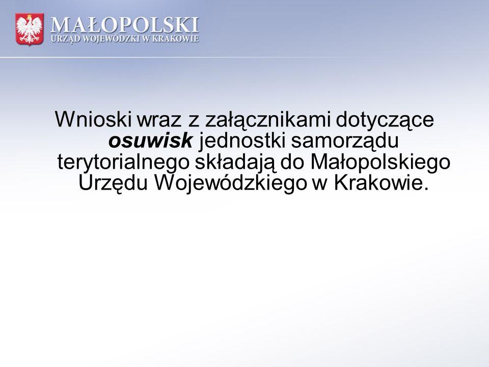 Wnioski wraz z załącznikami dotyczące osuwisk jednostki samorządu terytorialnego składają do Małopolskiego Urzędu Wojewódzkiego w Krakowie.