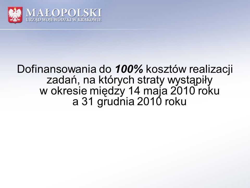 Dofinansowania do 100% kosztów realizacji zadań, na których straty wystąpiły w okresie między 14 maja 2010 roku a 31 grudnia 2010 roku