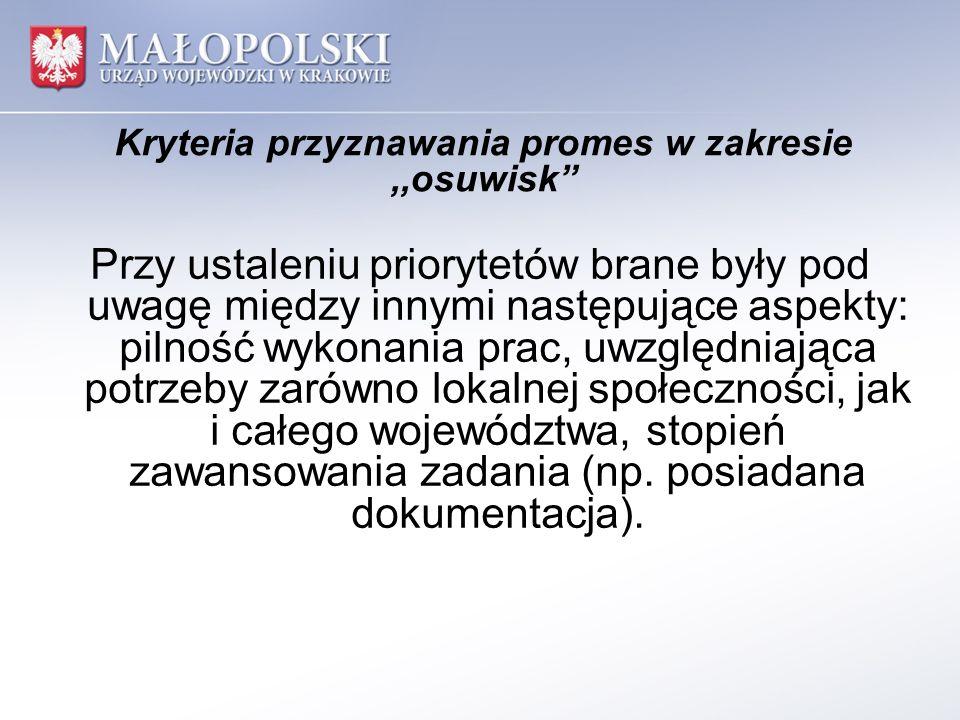 Kryteria przyznawania promes w zakresie,,osuwisk Przy ustaleniu priorytetów brane były pod uwagę między innymi następujące aspekty: pilność wykonania