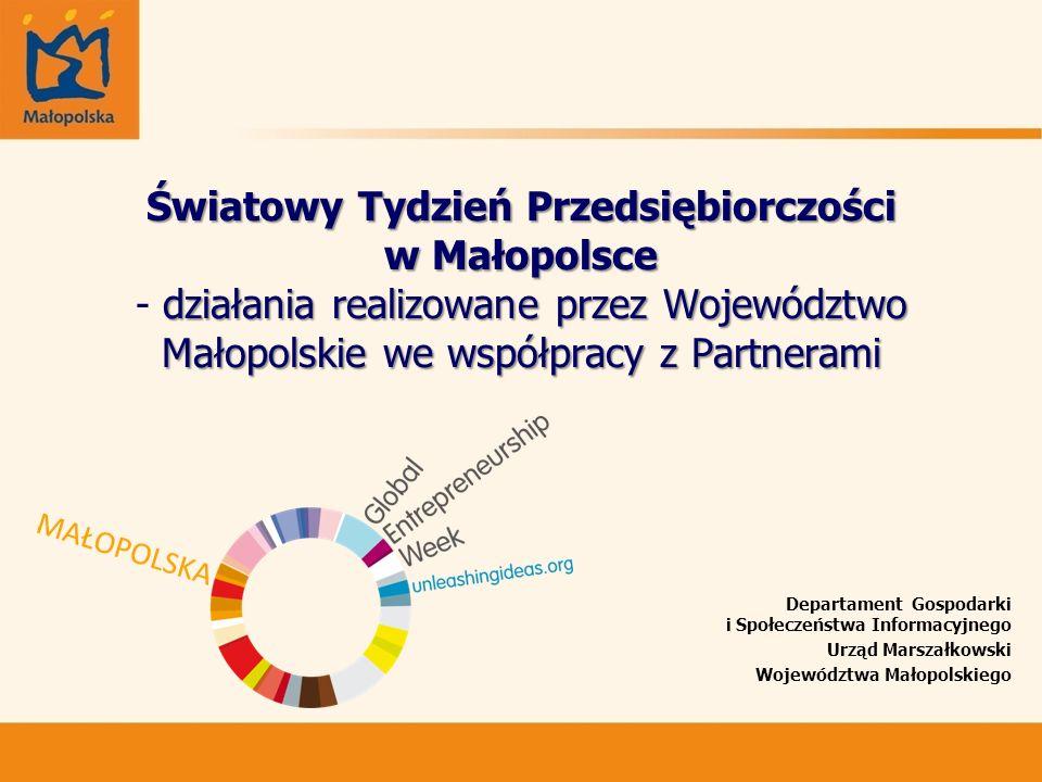 Światowy Tydzień Przedsiębiorczości w Małopolsce działania realizowane przez Województwo Małopolskie we współpracy z Partnerami Światowy Tydzień Przed
