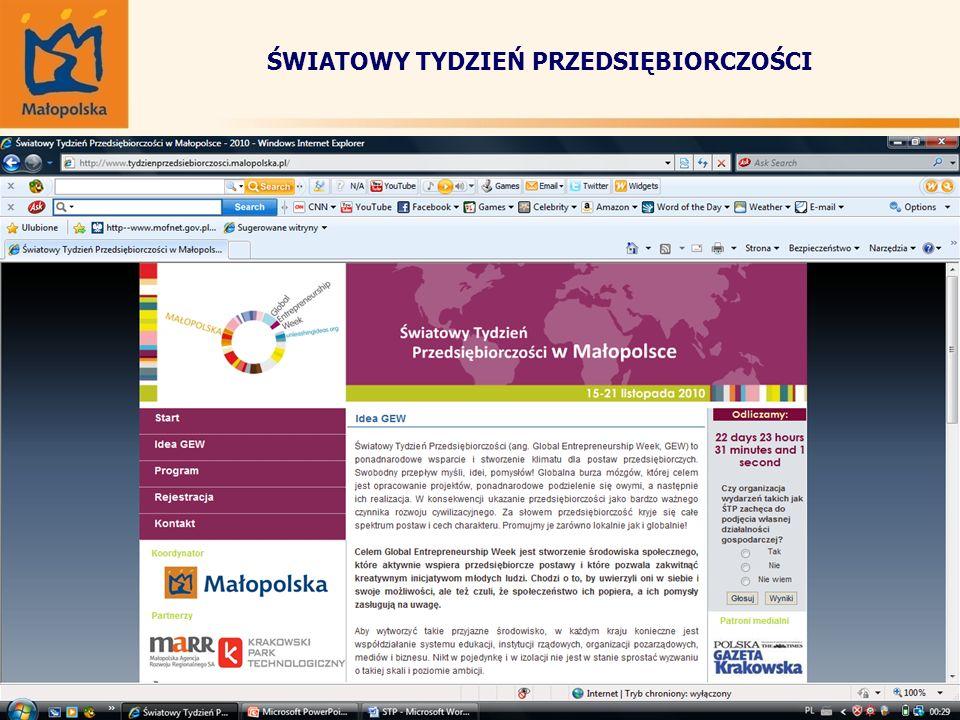 ŚWIATOWY TYDZIEŃ PRZEDSIĘBIORCZOŚCI Strona www.tydzienprzedsiebiorczosci.malopolska.pl