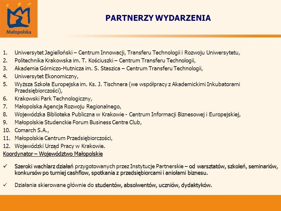 PARTNERZY WYDARZENIA 1.Uniwersytet Jagielloński – Centrum Innowacji, Transferu Technologii i Rozwoju Uniwersytetu, 2.Politechnika Krakowska im. T. Koś