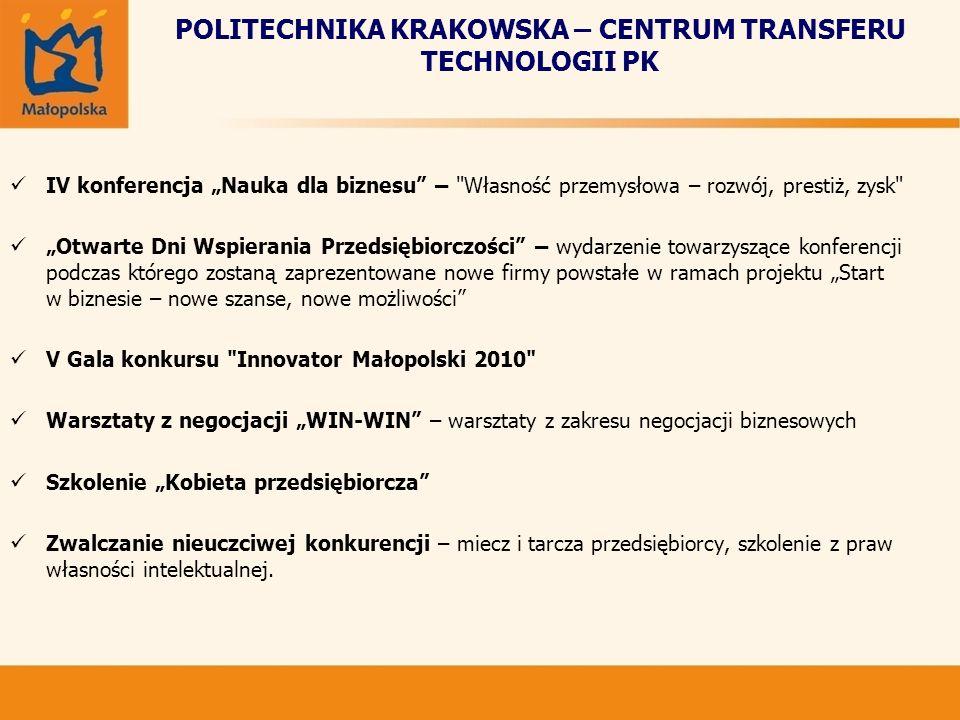 POLITECHNIKA KRAKOWSKA – CENTRUM TRANSFERU TECHNOLOGII PK IV konferencja Nauka dla biznesu –