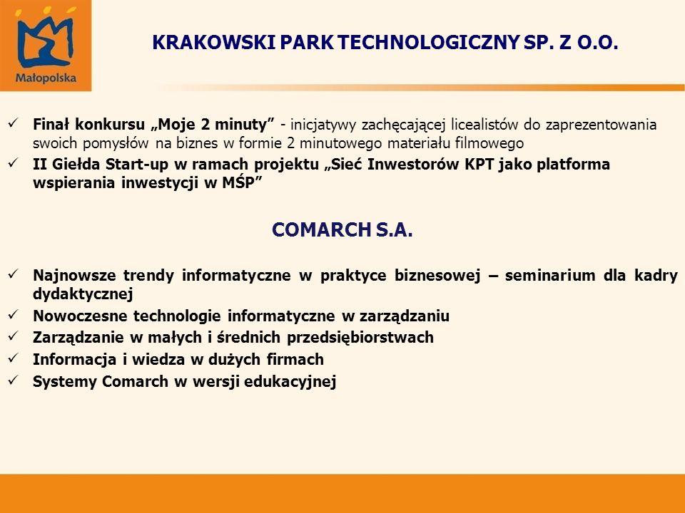 KRAKOWSKI PARK TECHNOLOGICZNY SP. Z O.O. Finał konkursu Moje 2 minuty - inicjatywy zachęcającej licealistów do zaprezentowania swoich pomysłów na bizn