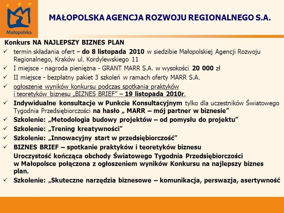 MAŁOPOLSKA AGENCJA ROZWOJU REGIONALNEGO S.A. Konkurs NA NAJLEPSZY BIZNES PLAN termin składania ofert – do 8 listopada 2010 w siedzibie Małopolskiej Ag